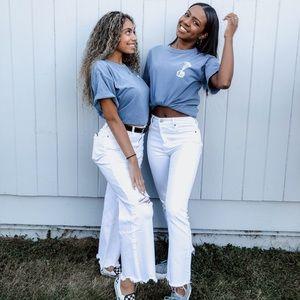 Forever 21 White Frayed Hem Jeans